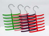 colorful ABS plastic velvet flock tie hanger , 6 tier in both sides