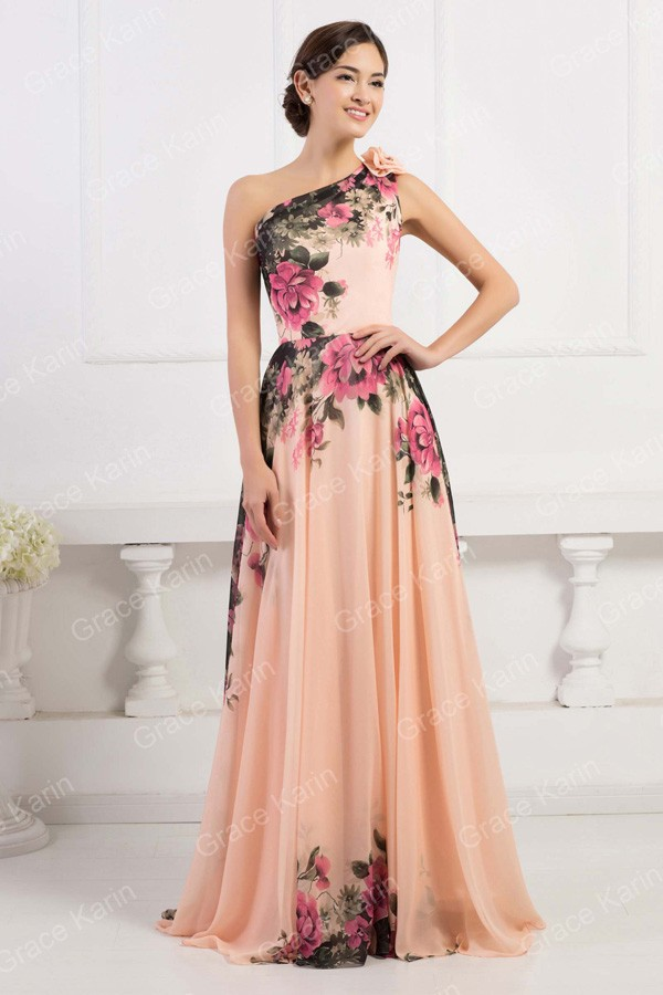 CL7504 (2) CL7504 (4) CL7504 (5). CL7504 (9). 3 Designs Grace Karin Stock One  Shoulder Flower Pattern Floral Print Chiffon Evening Dress Gown Party ... d5c7427254e0