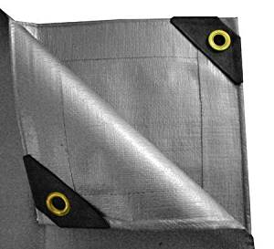 30x30 Heavy Duty Tarp 12-Mil Thick Silver Canopy Tarp FREE BUNGEES