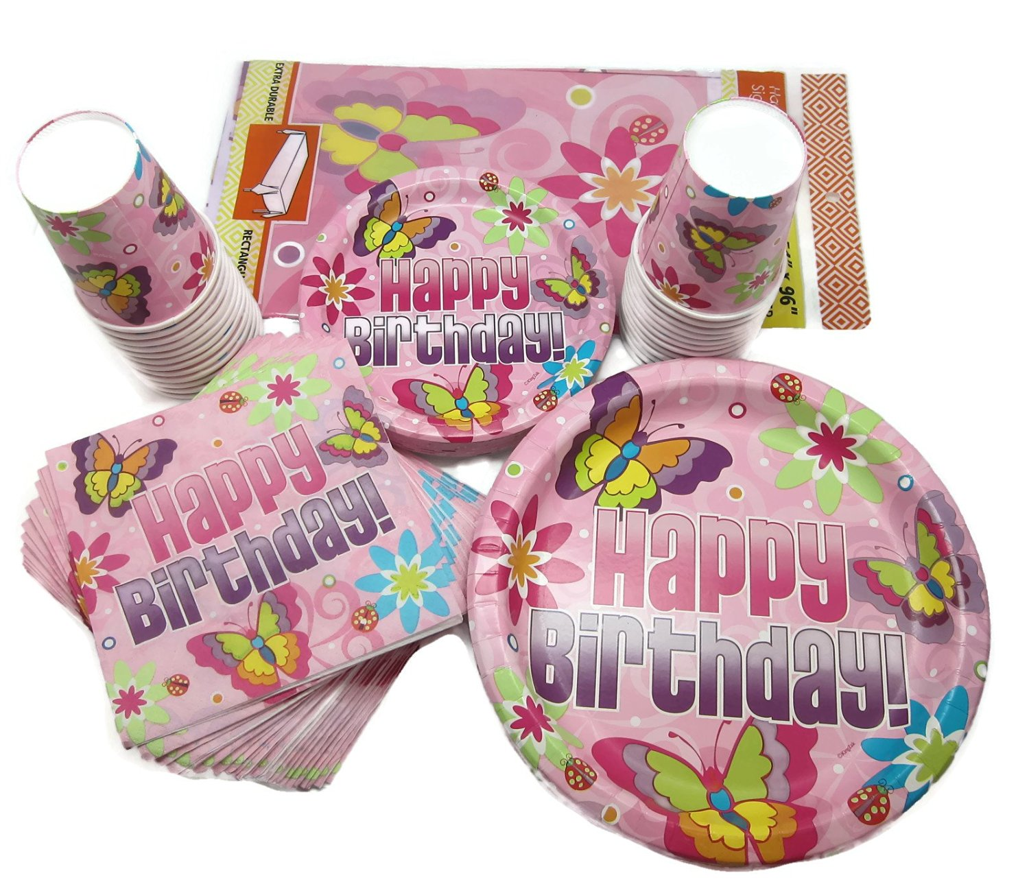 Hannah K Signature Collection Butterfly Birthday Party Supply Pack Bundle for 18 Guests - 5 Items: Dinner Plates, Dessert Plates, Napkins, Cups, Plastic Tablecloth