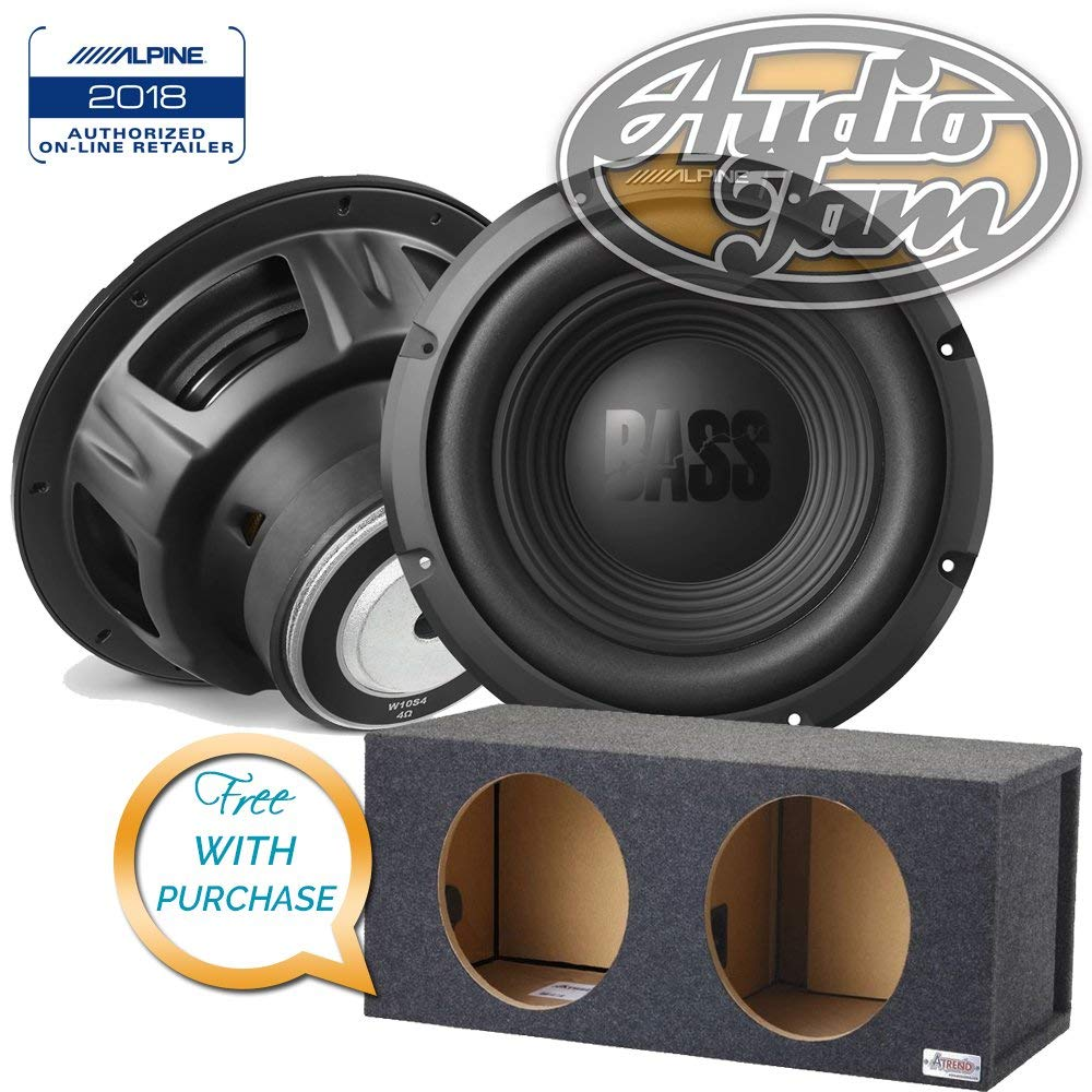 Two (Pairs) Alpine W10S4 BassLine Series 10-inch 4-ohm subwoofer with Vented Subwoofer Enclosure Box