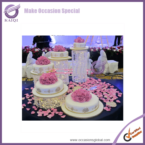 K7422 2015 Crystal Wedding Cake Stands Metal Stand Hanging Crystals For Weddings Cakes