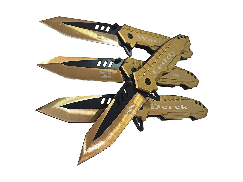 Engraved Pocket knifes - Set of 4 Customized wedding gift sets Easy opening Birthday gift - Bachelor gift customized folding knife fom him - Men's Best Man gift