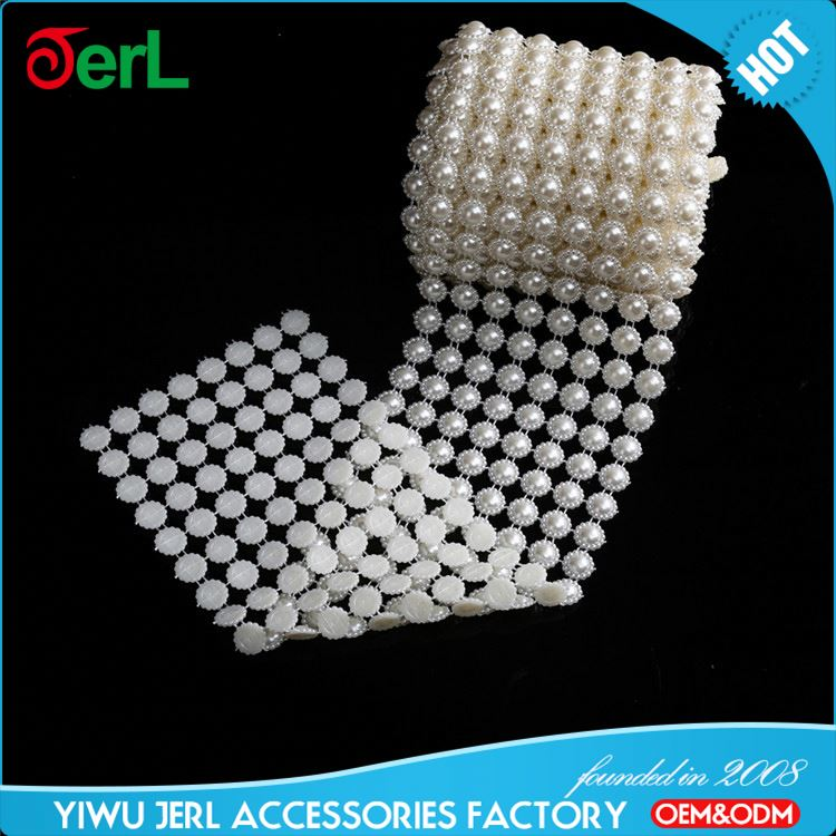 New arrival simple design pearl rhinestones lace trims wholesale