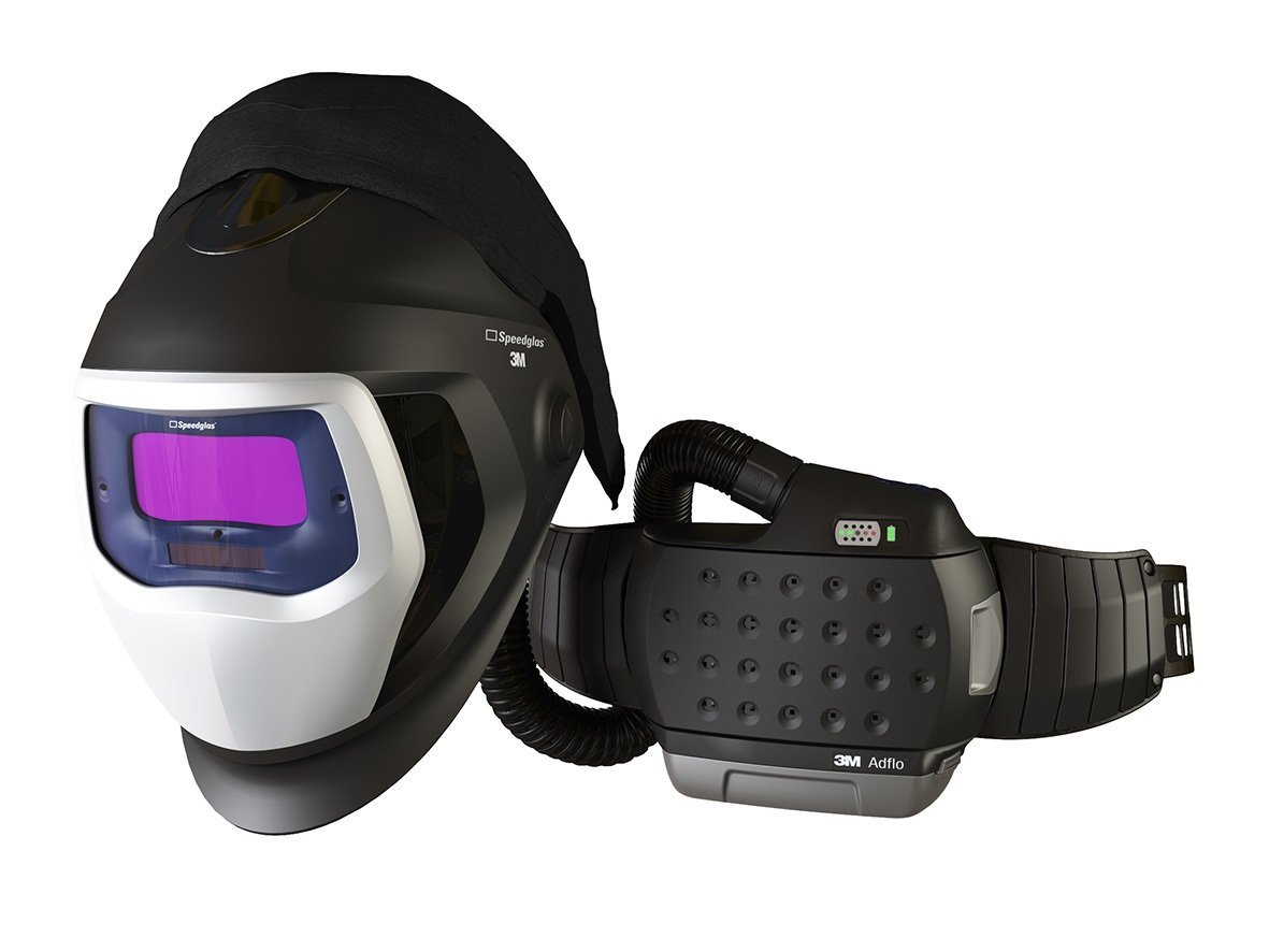 3M 35-1101-10SW Powered Air Purifying Respirator High Efficiency System with 3M Speedglas Welding Helmet 9100-Air, Lithium Ion Battery, Side Windows and Auto-Darkening Filter 9100V, Shades 5, 8-13
