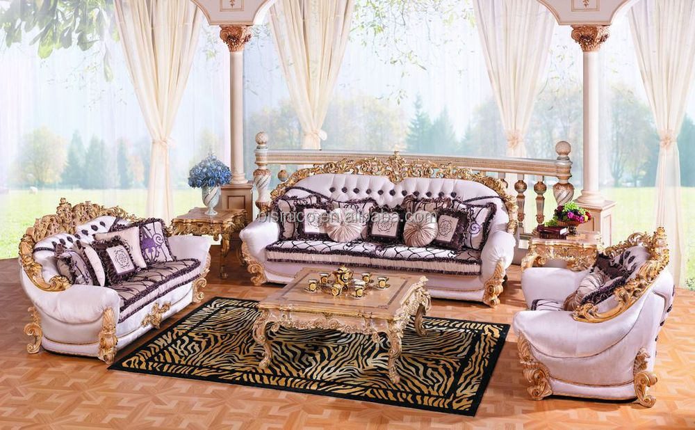 luxury french new classic living room furniture sofa seteuropean classic wood carving fabric sofa - Classic Living Room Sets