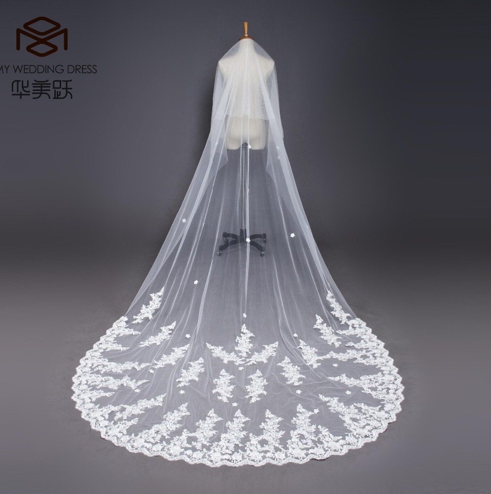 a06a92c08ae8 Long Ivory Lace Trim Wedding Veils 2017 White Bridal Veils Wedding  Accessories - Buy Wedding Accessories