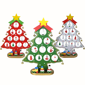 Whole Wooden Christmas Tree With Three Car Furnishing Articles Decorations Diy Xmas Gift Ornament For
