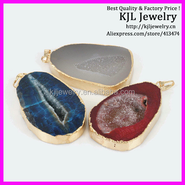 GZKJL-CT0108 HOT !!! Natural freedom shape Raw 24k. gold plated Edge agate slice druzy pedant