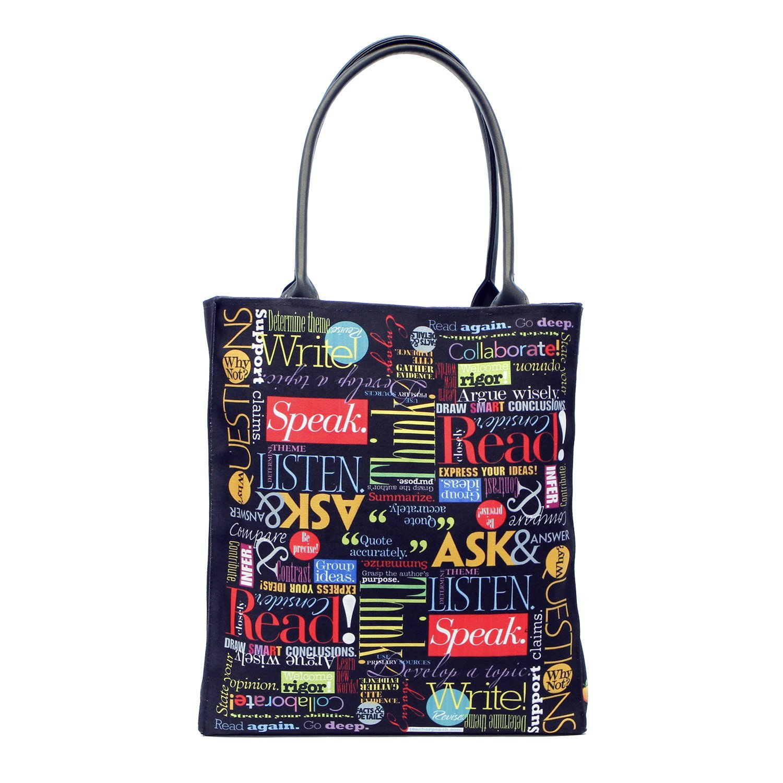Teacher Peach Large Canvas School Tote Bag Perfect Gift