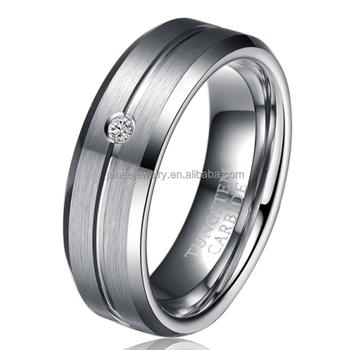 8mm Tungsten Carbide Mens Wedding Rings Diamond CZ Inlay Single Stone Ring  Designs For Men