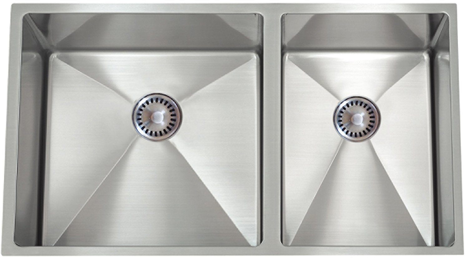 Lenova PC-SS-12Ri-D1 PermaClean 16-Gauge Stainless Steel Unequal Double Bowl Under-Mount Kitchen Sink, 32 x 19-Inch