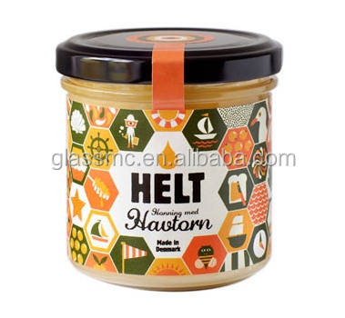 Honey round glass jar 210ml 240ml and 350ml with tin lid for jam sauce sticker