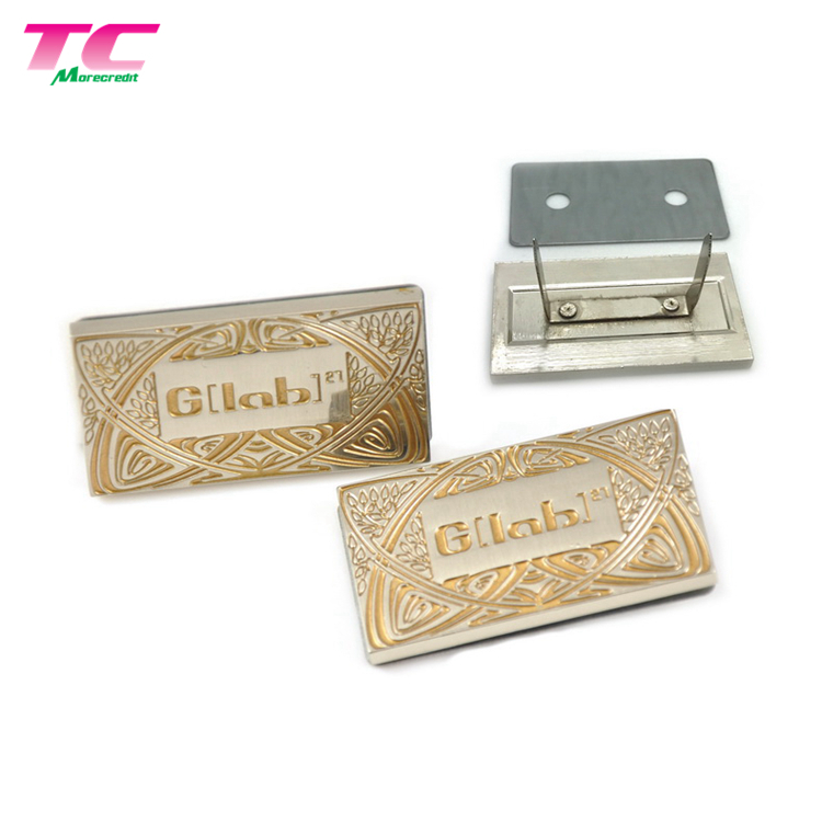 Free Design Service Shiny Silver Metal Tag With Black Enamel For High Quality Wallets Or Handbags