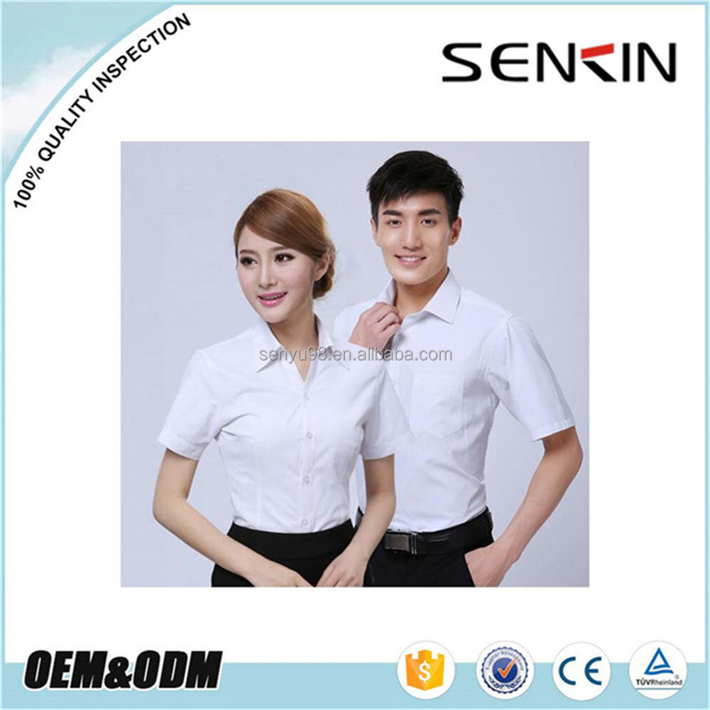 100% Polyester White office formal dress business shirt by Guangzhou Garment