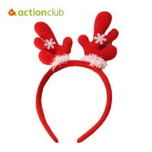 Actionclub Holiday Christmas Elk Hair Bands Cartoon Snowman Santa Headband Holiday Decoration Christmas Supplies For Home HF070