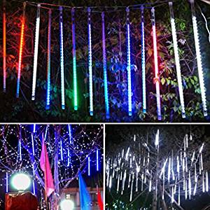 get quotations angelicaap multicolor meteor shower rain tube string lights lamp christmas lights 80led