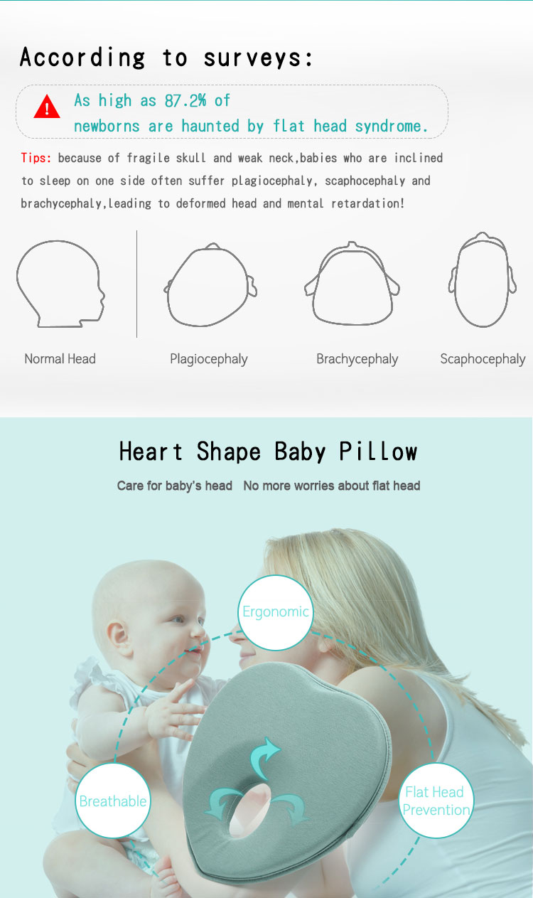 Cotton Organic Infant Newborn Head Shaping Pillow Custom Size Heart Shape Bamboo Memory Foam Baby Pillow for Flat Head Syndrome