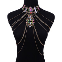 Wholesale Crystal Jewelry Set Pendant Necklace Long Tassel Layered Waist Chain Sexy Body Chain