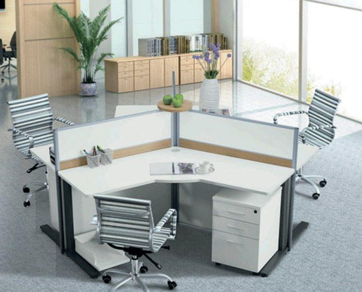Bureau met personen werkstation partitie scherm ronde buy
