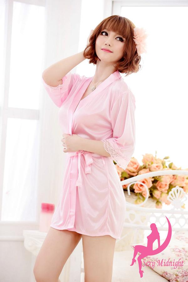 764a12d366 Get Quotations · Sexy Women Grown Sleep Ware Rayon Silk Sleepwear  Nightdress Robes Pajamas Pink