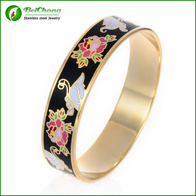 Wholesale 316l Stainless Steel Enamel Gold Bangle Bracelets Designs