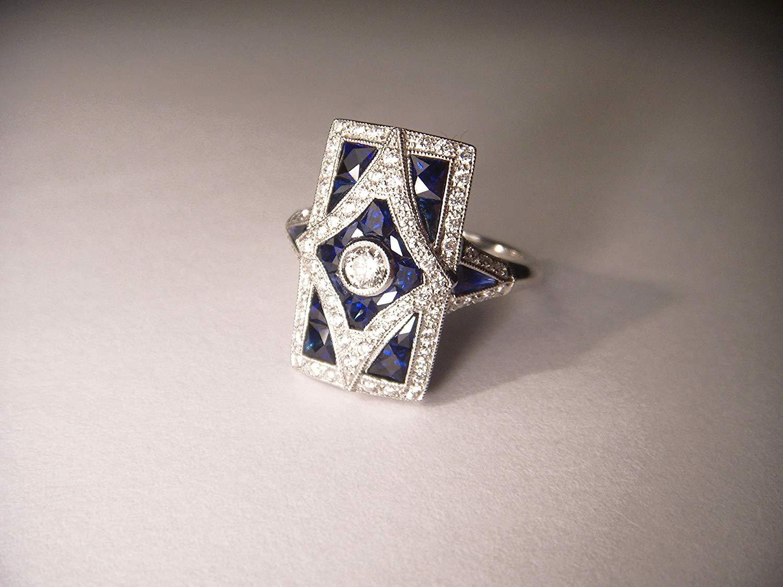 Antique Art Deco 18K White Gold Diamond Sapphire Dinner Ring Band