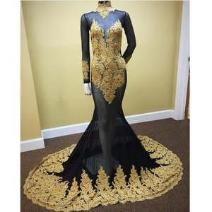 Muslim Mermaid Black Evening Dress Long Sleeve Golden Lace For Party Evening Gown Dresses