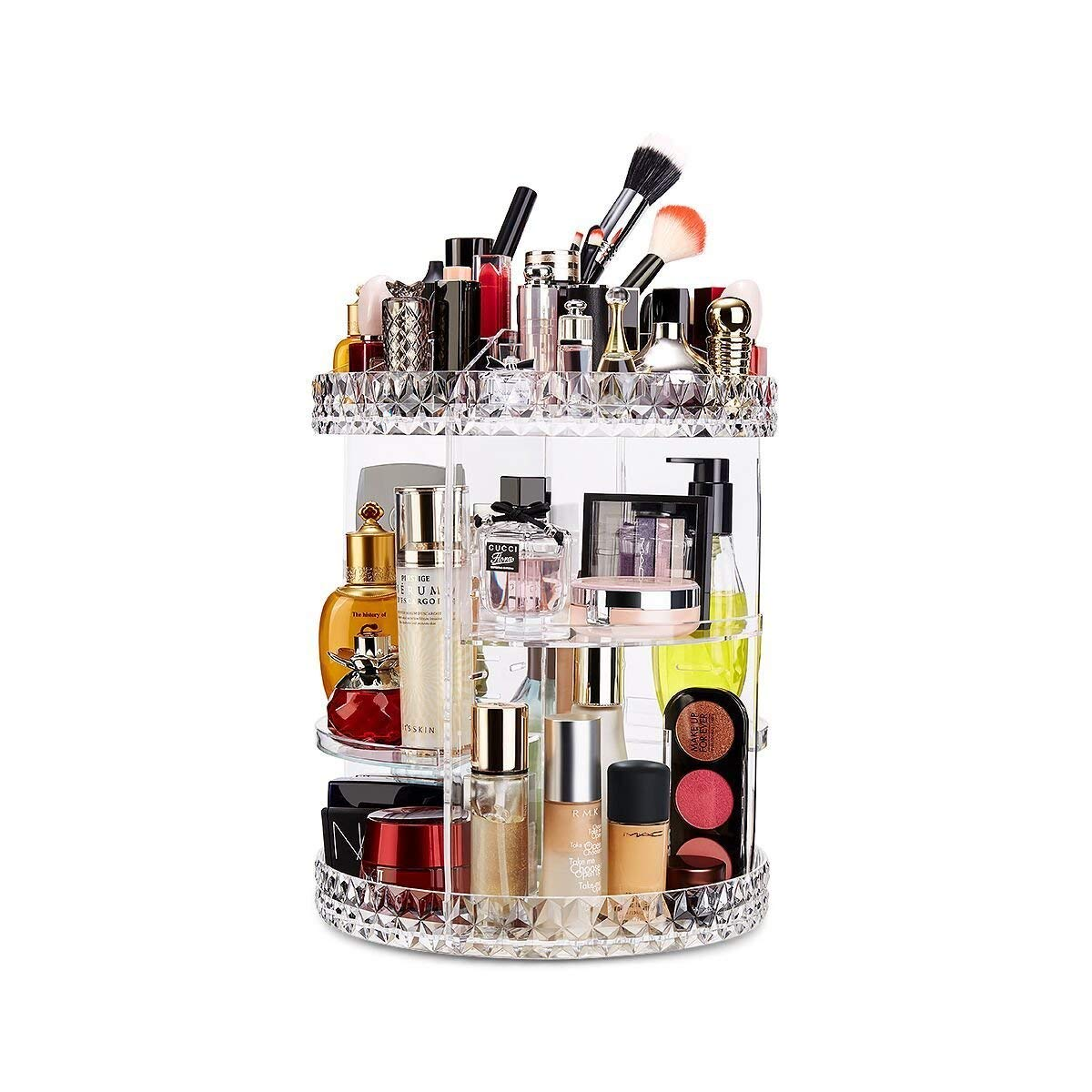 Rotating Makeup Organizer 360-Degree Rotating Adjustable Multi-Function Acrylic Cosmetic Storage for Cosmetics, Toiletries, and More — Great for Vanity, Bathroom, Bedroom, Closet, Kitchen (Acrylic)