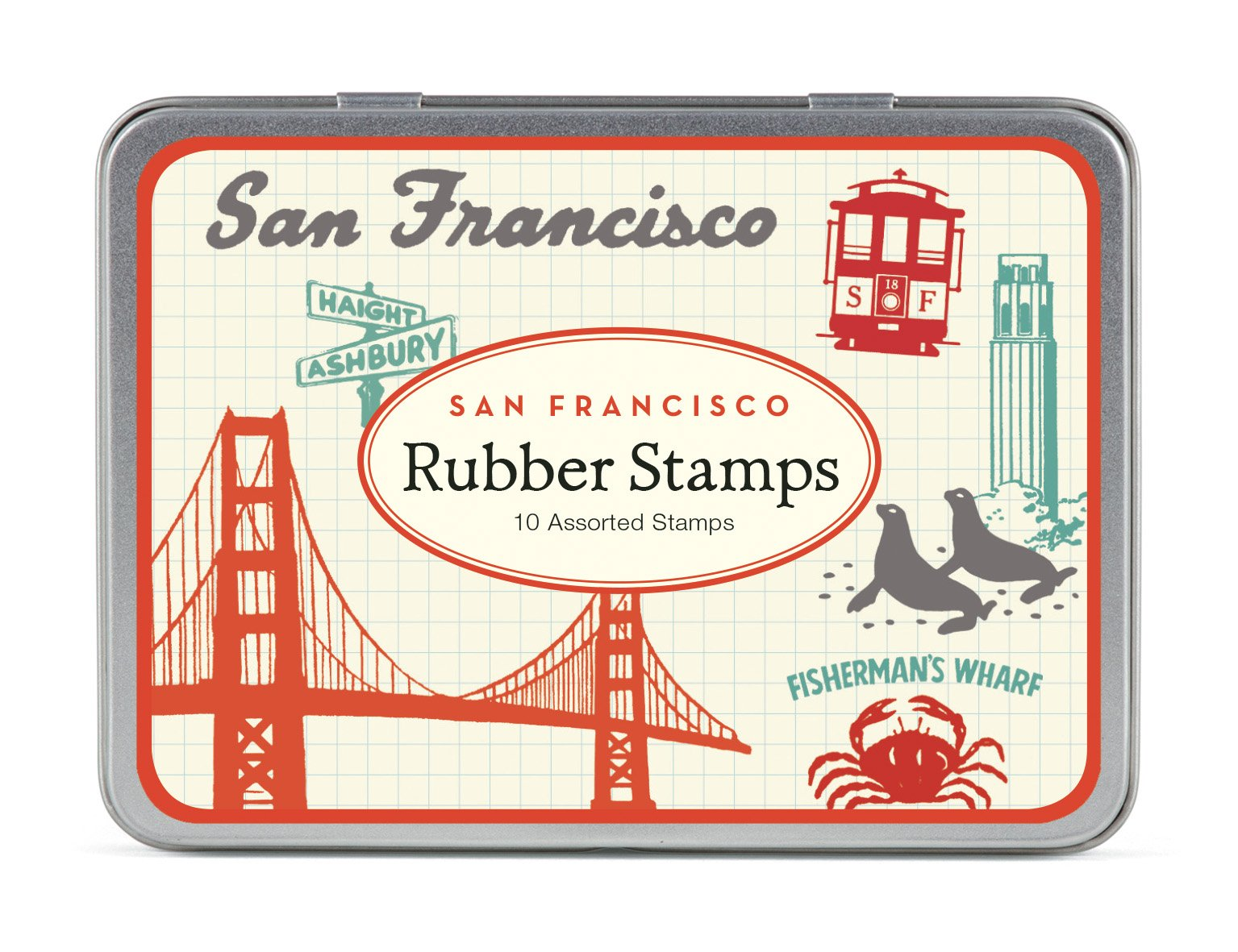Cavallini Papers & Co., Inc. STSET/VINSF Vintage San Francisco Stamp Set Vintage San Francisco Rubber Stamp Set