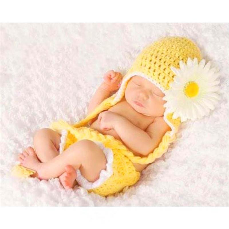 Baby Newborn Photography Props Costume Hand Crochet Knit Infant Beanie Hat with Cap Trousers Costume Outfit