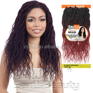 Model Model Synthetic Hair Crochet Braids Glance 3X Wavy Feathered Twist 16""