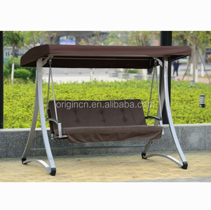 Aamusement park outdoor 3 seater swing long rectangular canopy swingasan hanging chair