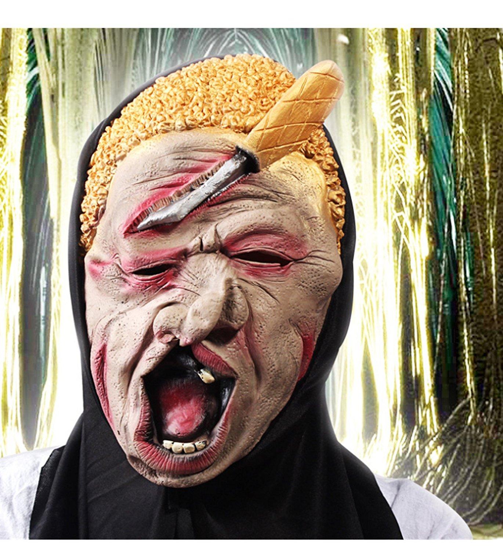 micrkrowen Halloween party cosplay mask Terrible scar yellow hair latex monster kamen