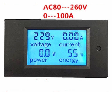 New AC80-260V 0-100A Voltage + Current + Power + Energy multifunction meter with LCD display