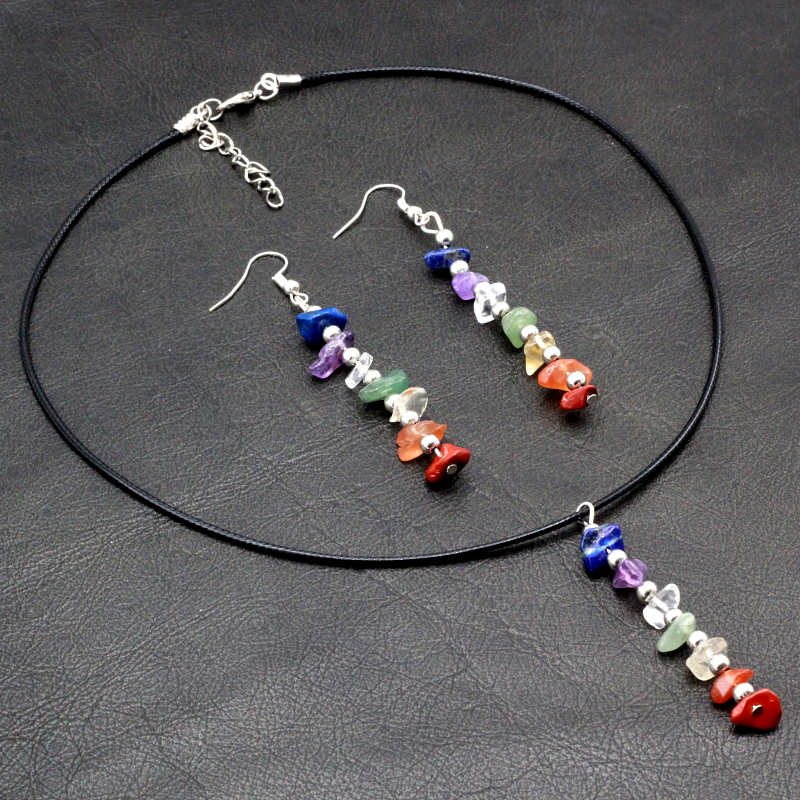 Chakra 7 Colors Freeform Gravel Natural Quartz Stone Beads Earrings and Pendant Necklace Jewelry <strong>Sets</strong>
