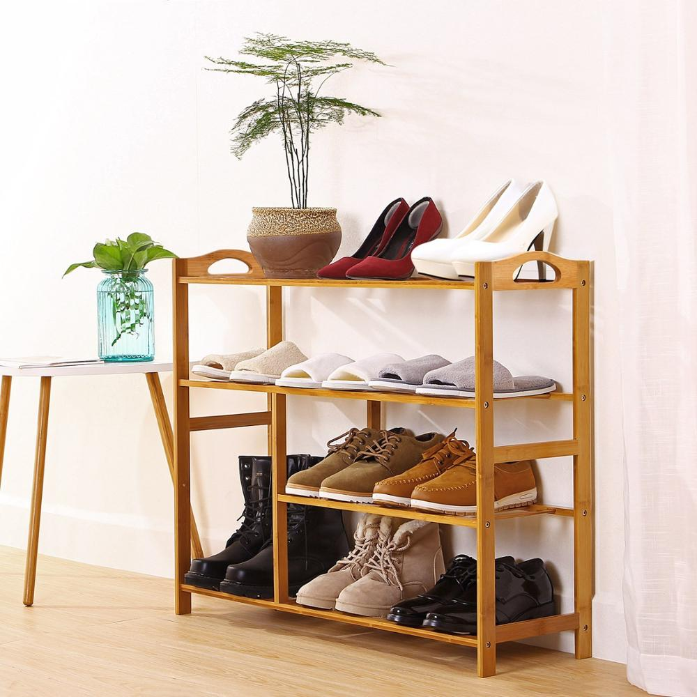 4 Tier Natural Bamboo Shoe Rack Entryway Shoe Storage Shelf with Extended Length
