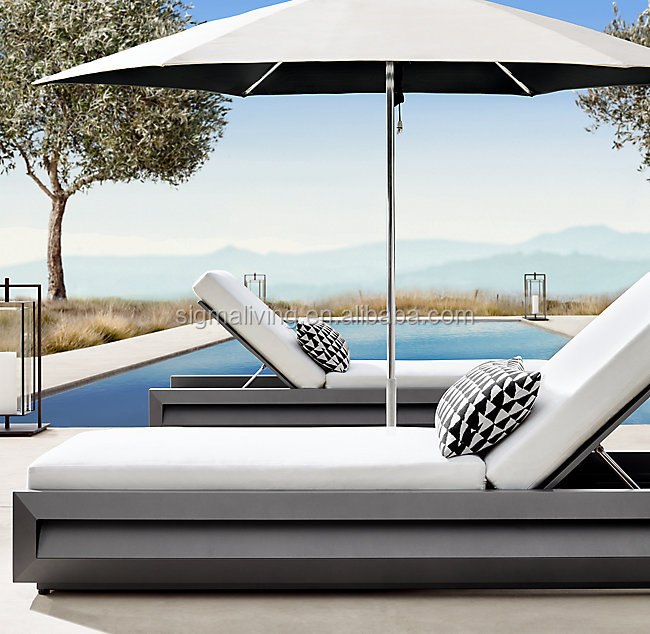 New arrival modern style outdoor furniture beach chair aluminum chaise sun lounge