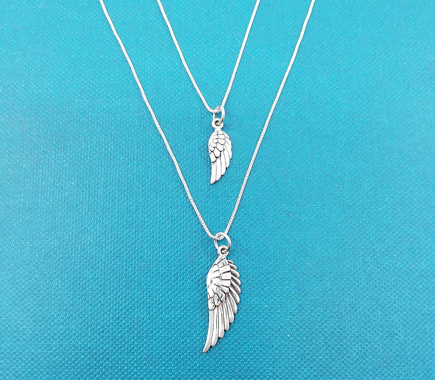 """Mother Daughter Angel Wing necklace set in Sterling silver on 16"""" & 18"""" Sterling silver box chains. Mother Daughter necklace set. Angel wing necklace set."""