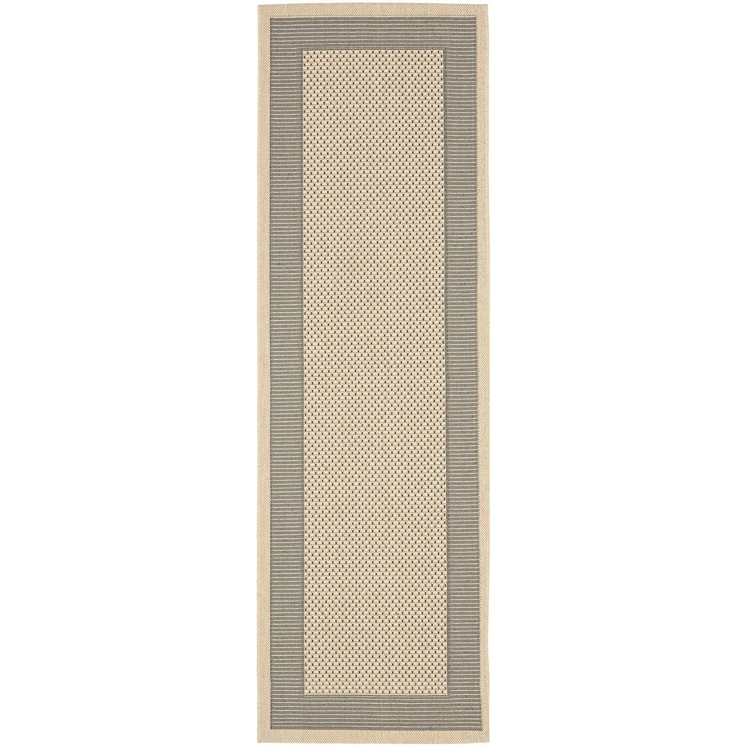 """Safavieh Courtyard Collection CY7987-65A5 Grey and Cream Indoor/ Outdoor Runner (2'3"""" x 8')"""