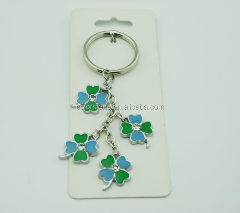 Good Luck Keychain Four Leaf Clover Key Holder Lucky Keychain Key chain with 4 leaf clover and Celtic trinity charm