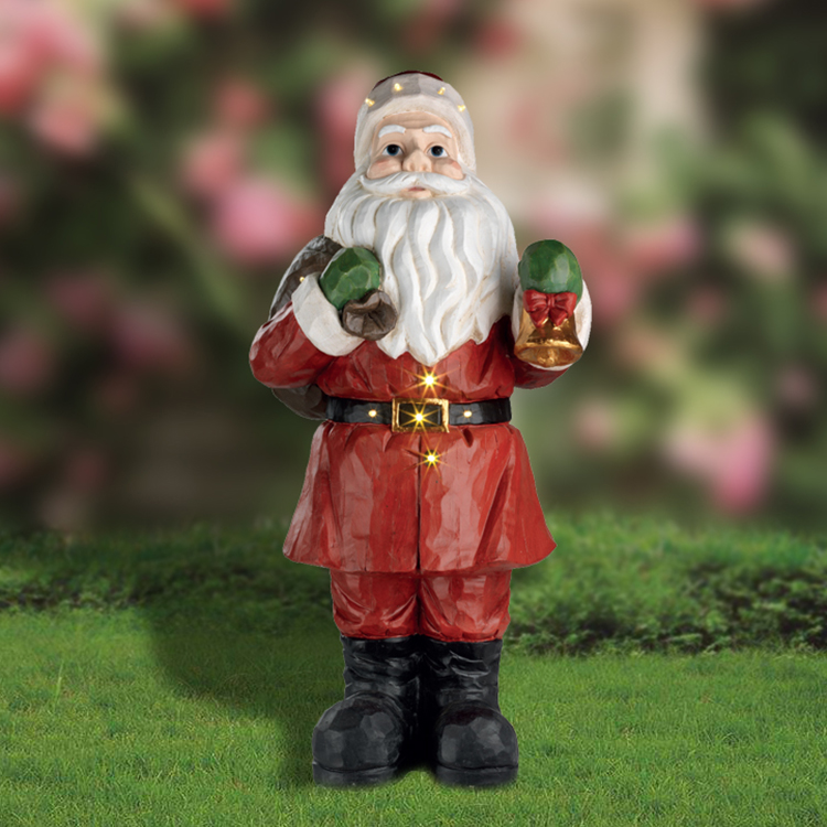 Hot Selling Large Outdoor Resin LED Light Santa Claus Statue