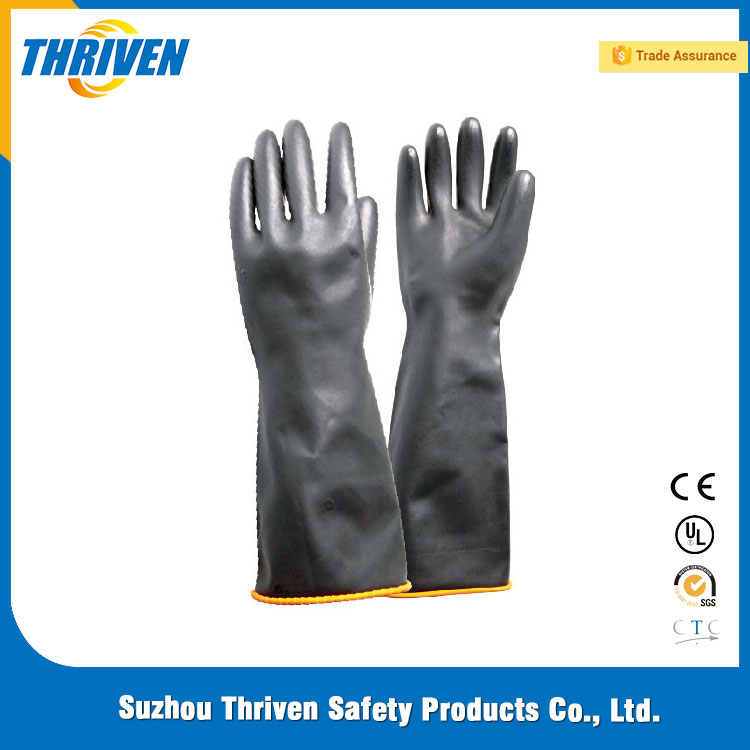 220g Black Latex Industry Long Gloves In China Manufacturer with Smooth Finished