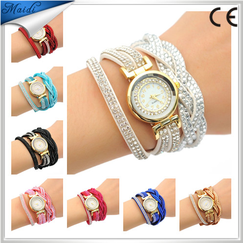 2016 Women's Vintage Rhinestone Weave Wrap Multilayer Leather Bracelet Wrist Watch WW028