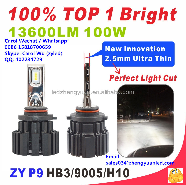 Now or Never TOP 1 Bright 13600lm 100W P9 pk p7 led headlight hb3 led auto lighting system g8 g7 7g 7s r6 r7 h7 canbus head lamp