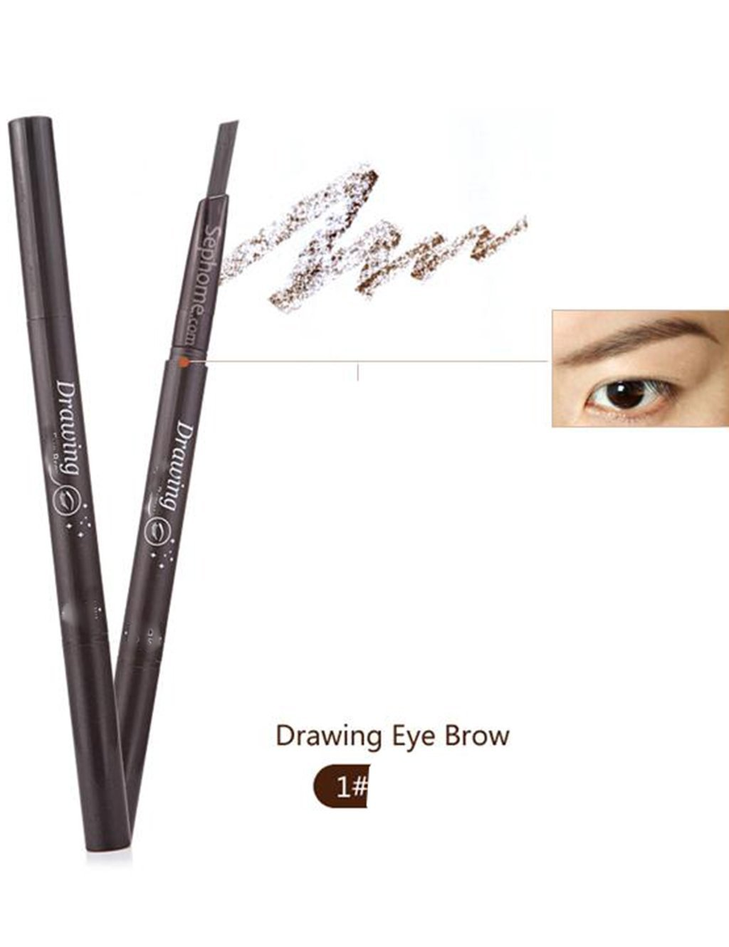 1 PC 5 Colors Women Lady Triangle Waterproof Eyebrow Pencil Eye Brow Pen With Brush Make-Up Tools (Deep coffee)
