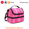 Hot Sale Double Decker Insulated Lunch Box Travel Tote Bag Thermal Lunch Tote With Shoulder Strap