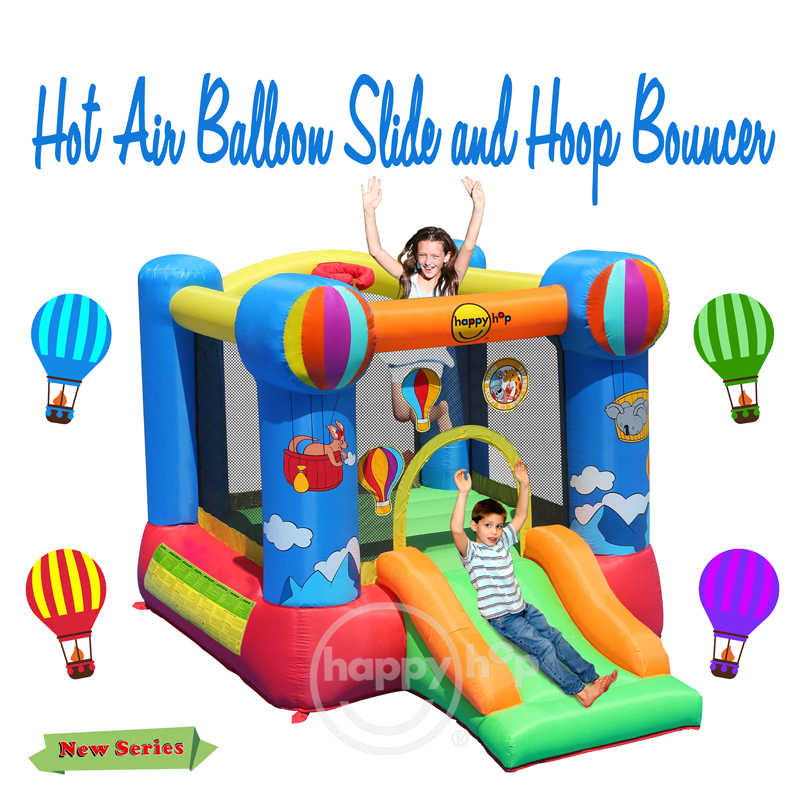 Happy Hop Inflatable Bouncer-9070N Hot Air Balloon Slide and Hoop Bouncer