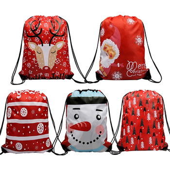 Beautiful wholesale christmas santa sack backpack polyester drawstring gift bag  for party