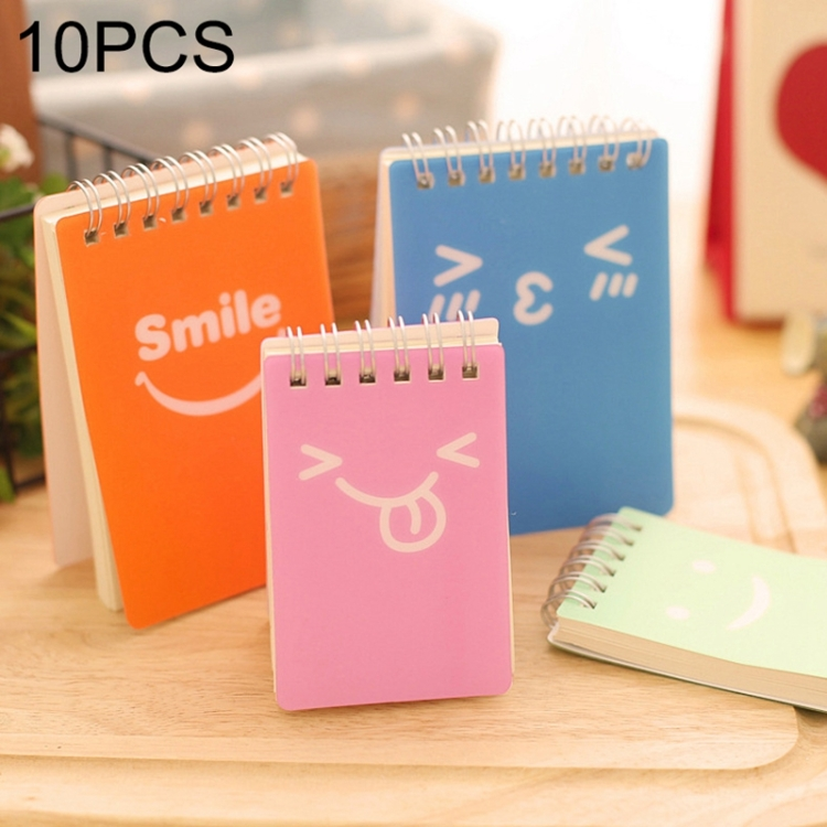 10 PCS Smiling Face Print Binder Ring Coil Memo Pad Notes Ruled Notepads School Office Supply